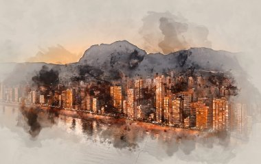 Digital watercolor painting of a Benidorm city at sunset. Spain.