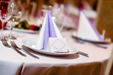 Wedding table decoration. Folded napkin, place card and crockery