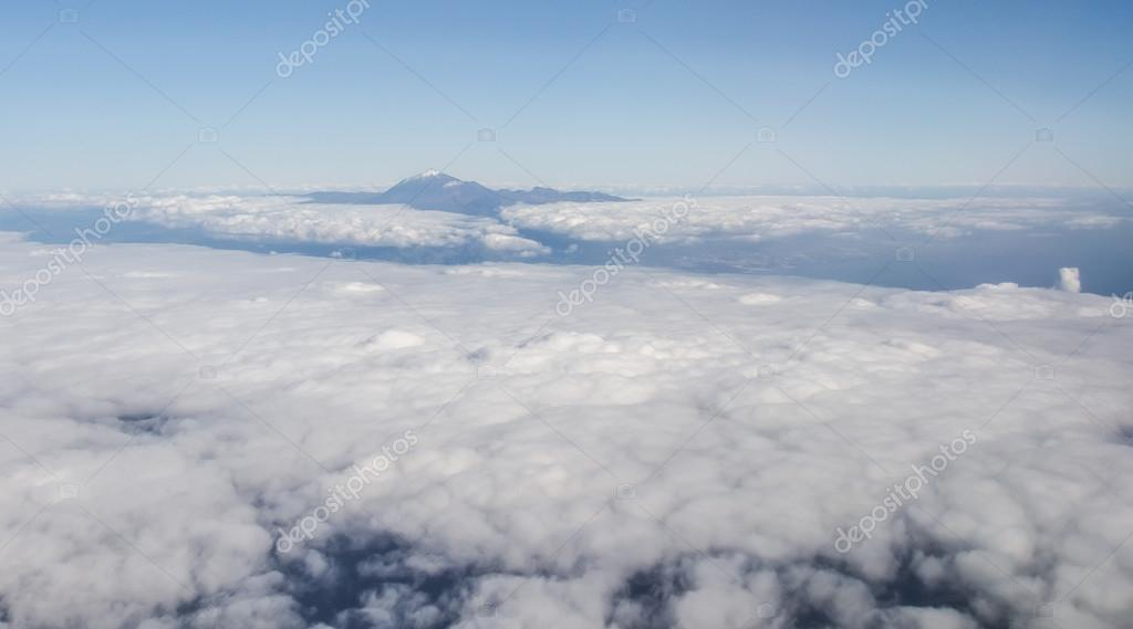 Volcano Teide, aerial view from window of airplane