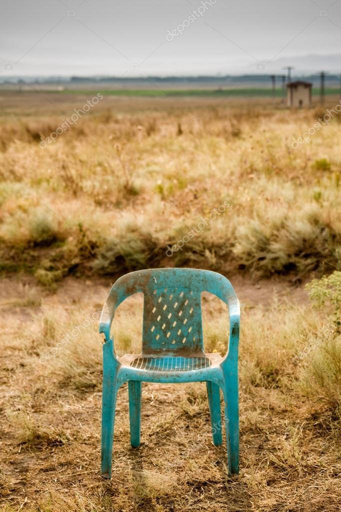 Nieczysty Retro Uszkodzony Plastikowe Zielone Krzesło