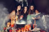 Witches look into the book, tinted