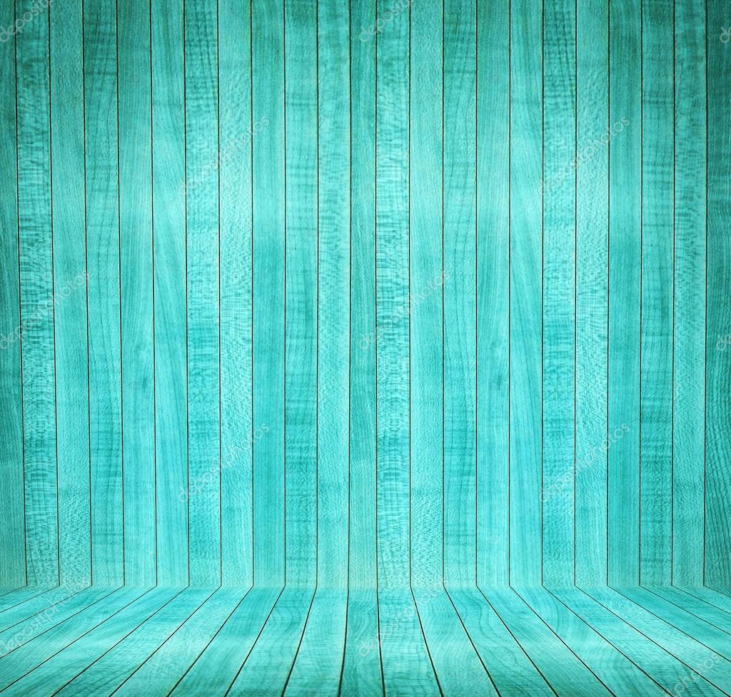 Intérieur abstrait avec parquet de bois turquoise — Photographie ...