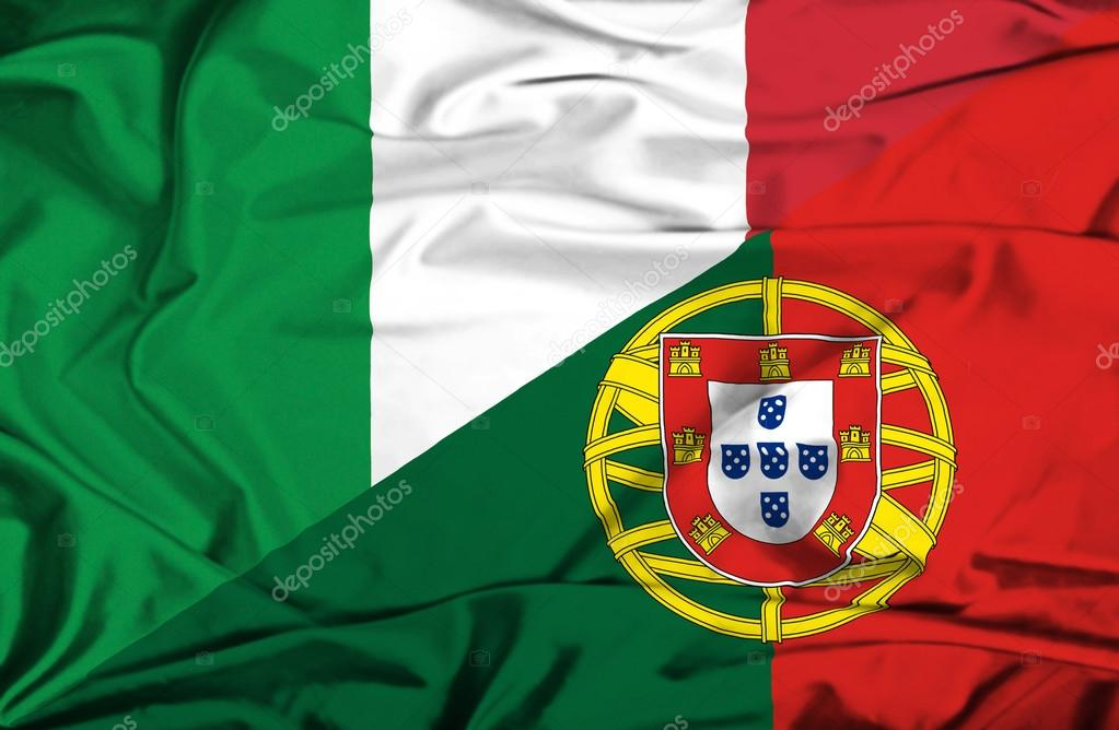 Waving Flag Of Portugal And Italy Stock Photo
