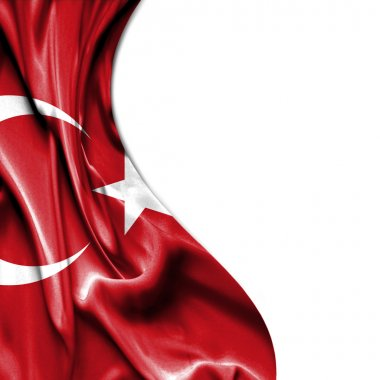 Turkey waving satin flag isolated on white background