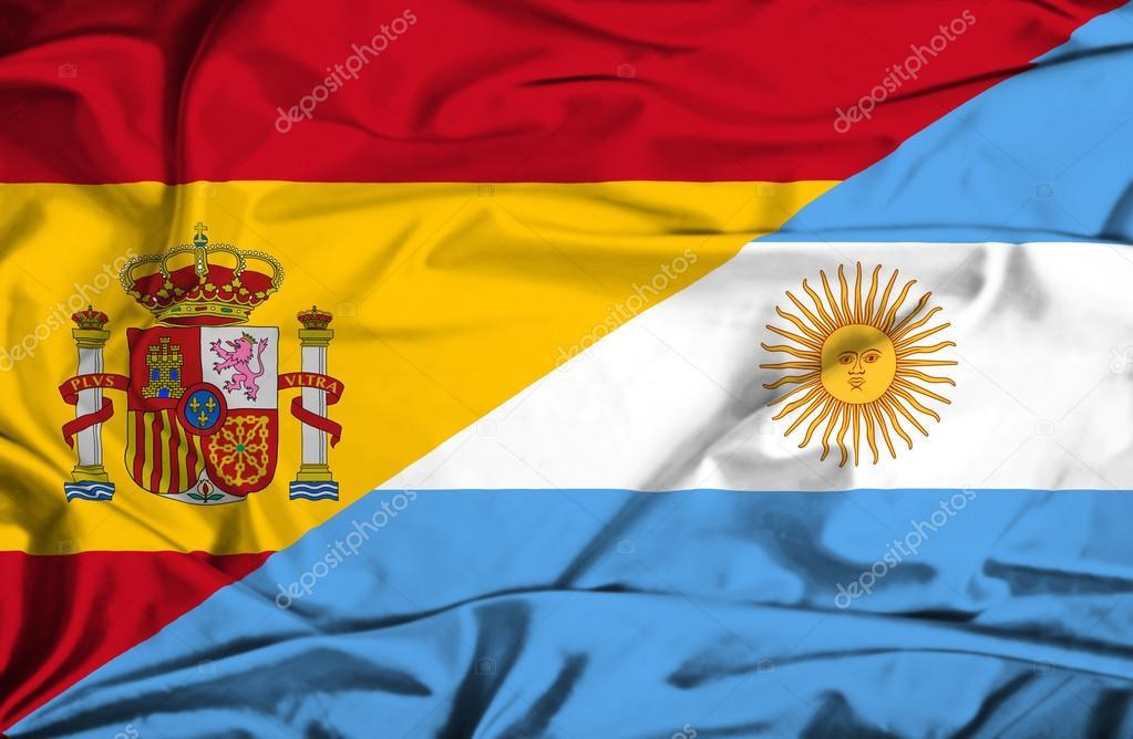Sventolando la bandiera dell'argentina e Spagna — Foto Stock