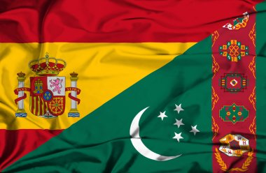 Waving flag of Turkmenistan and Spain