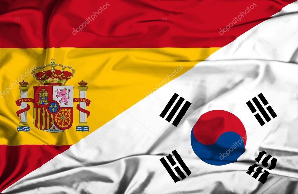 Bandera De Corea Del Sur Y España