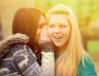 Two teen girls whispering rumours