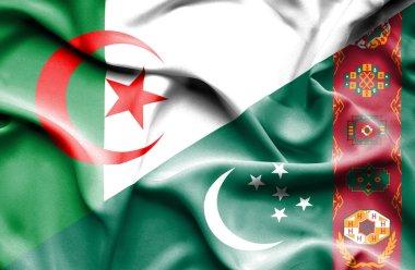 Waving flag of Turkmenistan and Algeria
