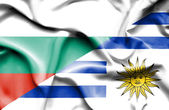 Waving flag of Uruguay and Bulgaria