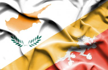 Waving flag of Bhutan and Cyprus