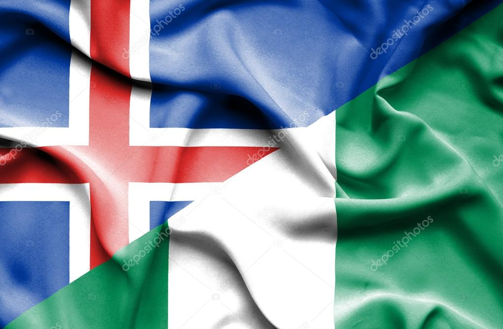 Sventolando La Ban Ra Della Nigeria E Islanda Foto Stock