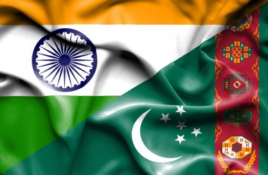Waving flag of Turkmenistan and India