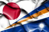 Mávání vlajkou Marshallových ostrovů a Japonska