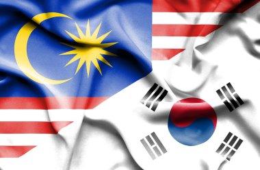 Waving flag of South Korea and Malaysia