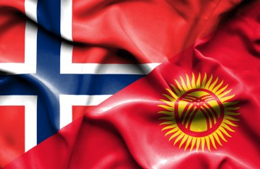 Waving flag of Kyrgyzstan and Norway