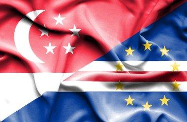 Waving flag of Cape Verde and Singapore