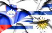 Waving flag of Uruguay and Slovenia