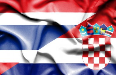 Waving flag of Croatia and Thailand