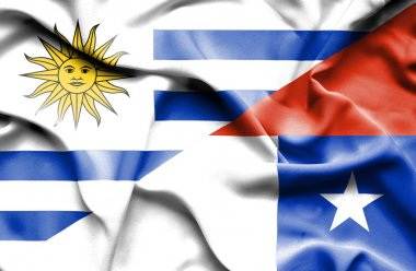 Waving flag of Chile and Uruguay