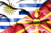 Waving flag of Macedonia and Uruguay