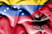 Waving flag of Albania and Venezuela