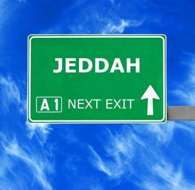 JEDDAH road sign against clear blue sky