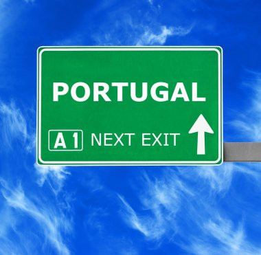 PORTUGAL road sign against clear blue sky