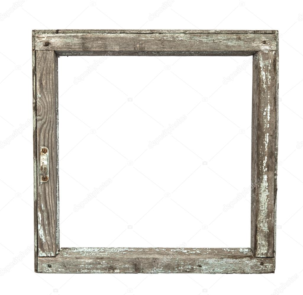 Very old grunged wooden window frame isolated in white — Stock Photo ...