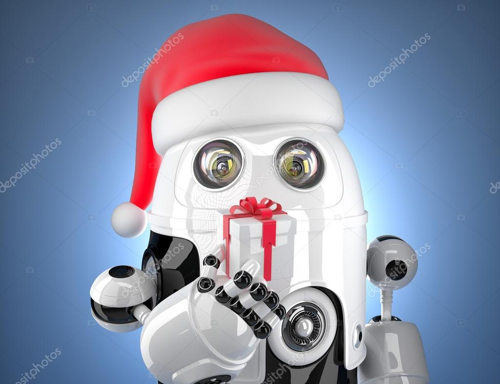 Cute robot with santa's hat holding gift box. Technology concept