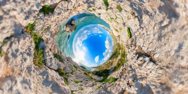 Aphrodites Rock. Stereographic projection. Paphos District. Cypr