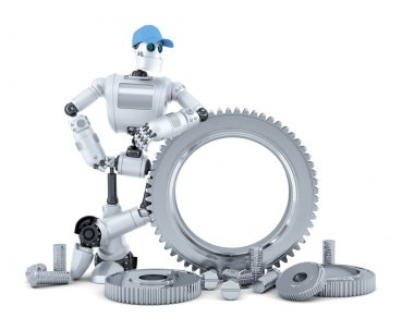 Engineer robot. Technology concept. Isolated. Contains clipping path