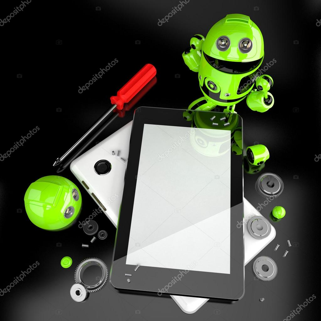 Robot repairing tablet computer. Contains clipping path of screen and entire scene