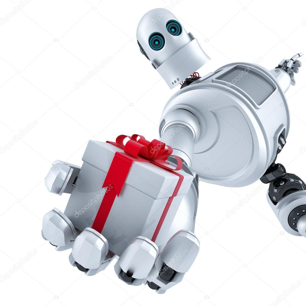 Robot giving a gift box. Isolated. Contains clipping path