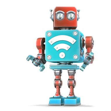 Vintage robot with Wi-Fi sign. Technology concept. Isloated. Contains clipping path