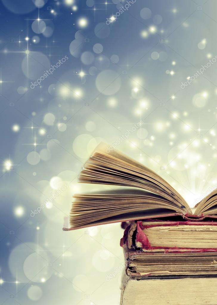 Christmas background with books