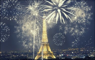 Eiffel tower with fireworks, New Year in Paris