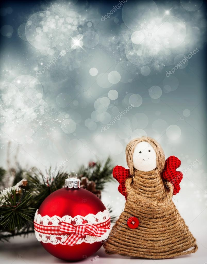 christmas decoration with handmade angel stock photo - Handmade Angels Christmas Decorations