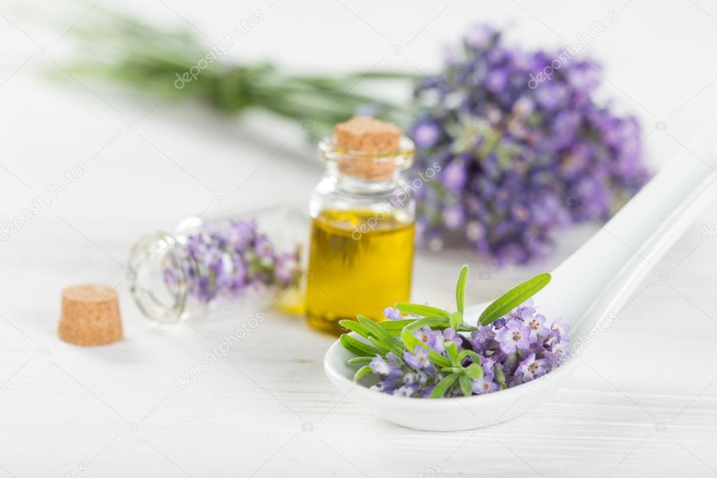 Wellness treatments with lavender flowers.