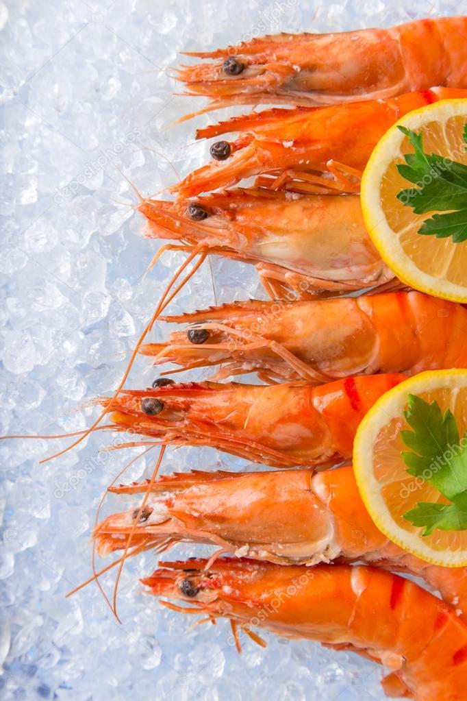 Fresh prawns on crushed ice.