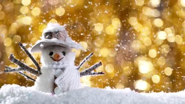 Karácsonyi csendélet fényekkel a háttérben és hópelyhek Falling. Szuper Lassú Mozgások.