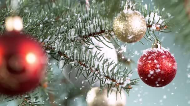 Vánoční smrkové větve s vločkami padající. Super pomalý pohyb.
