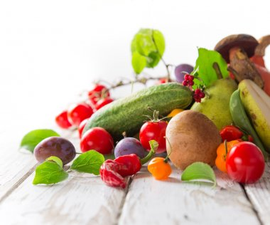 Healthy organic vegetable on wooden table