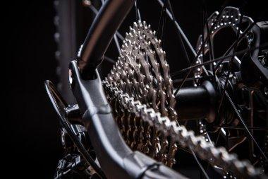 Rear mountain bike cassette on the wheel