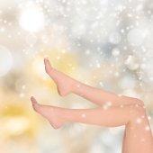 Krásná žena nohy, Vánoční pozadí