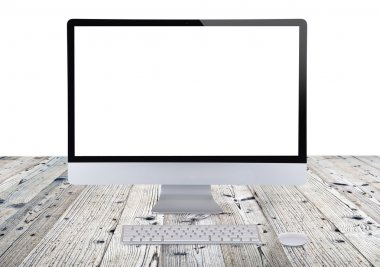 Computer display isolated on white background. stock vector