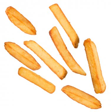 French fries in freeze motion