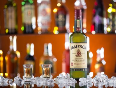 Jameson whiskey on bar desk