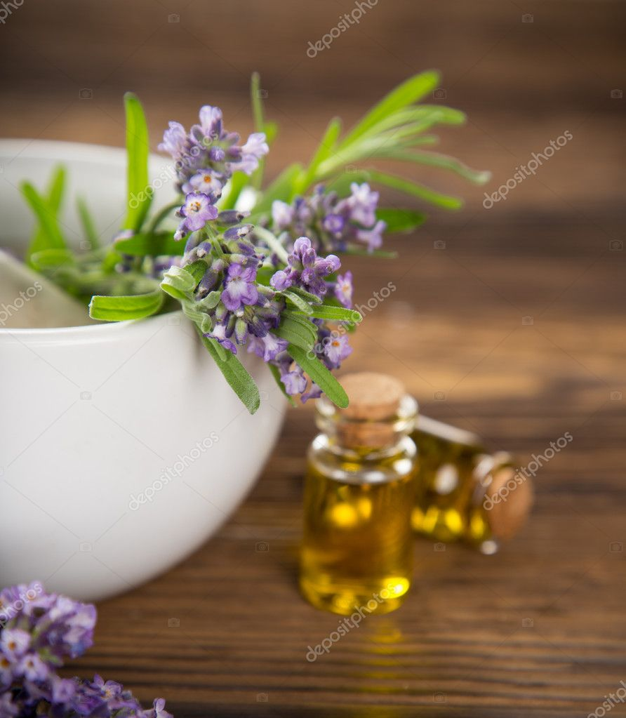 Lavender flowers with essential oil