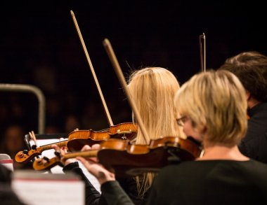 Symphony orchestra performing.